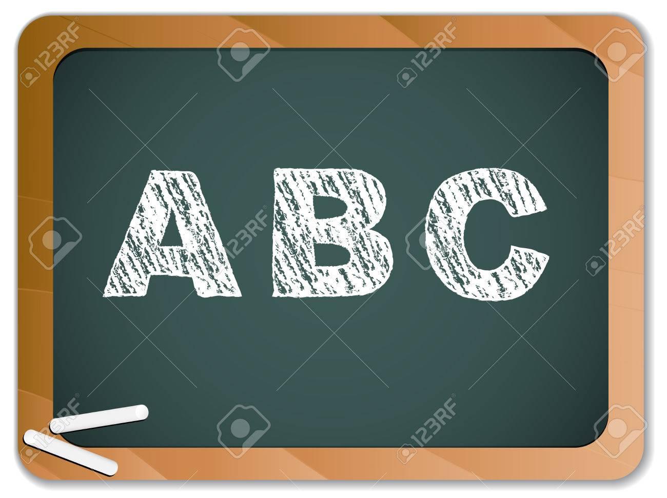 Chalk Alphabet on Blackboard Stock Vector - 8147377
