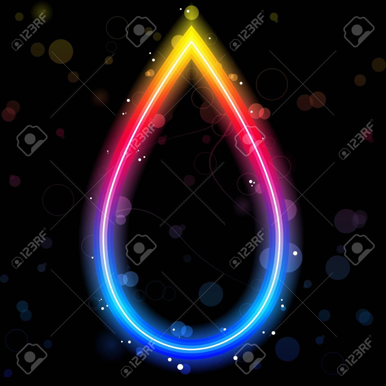 Rainbow Drop Border with Sparkles and Swirls. Stock Vector - 8213609