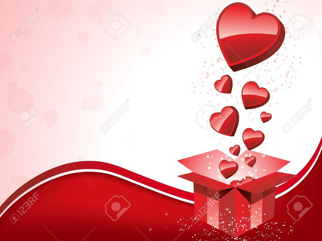 Vector - Happy Valentine's Day  Gift with Hearts Stock Vector - 8599253