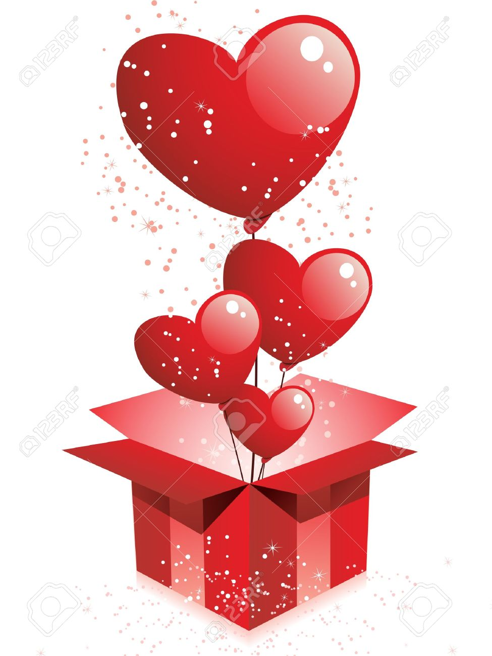 Vector Happy Valentine S Day Gift With Hearts Balloons Royalty