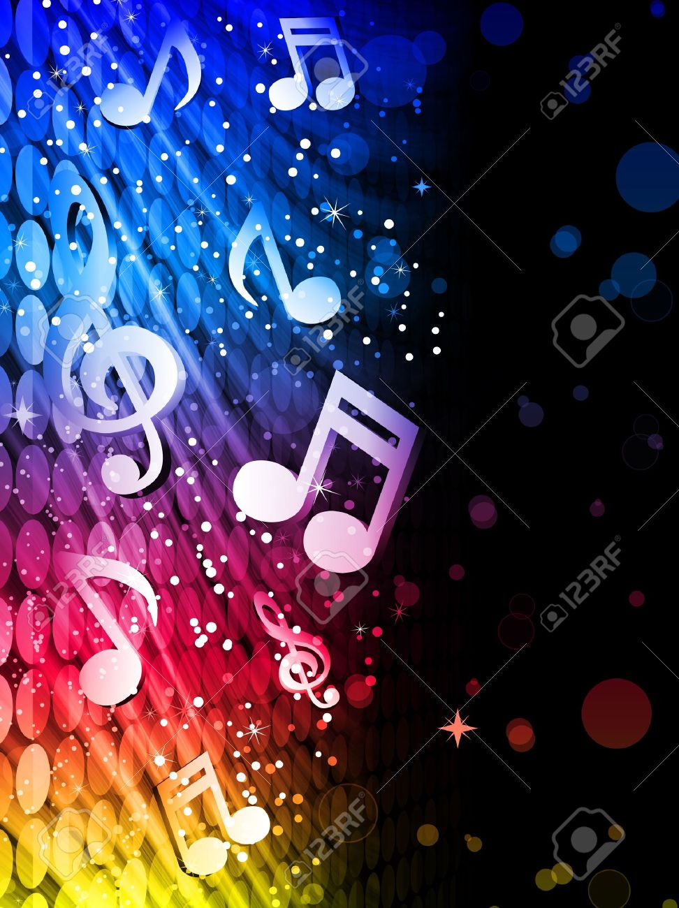 Party Abstract Colorful Waves on Black Background with Music Notes Stock Vector - 8777578