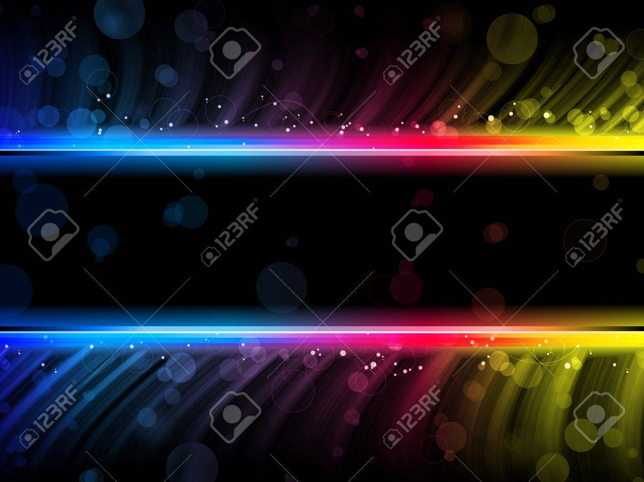Disco Abstract Colorful Waves on Black Background Stock Photo - 9124424