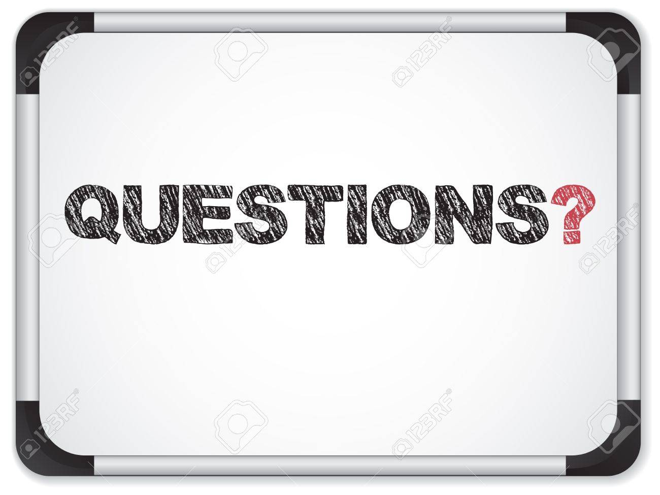 Vector - Whiteboard with Questions Message written in Black Stock Vector - 10103491
