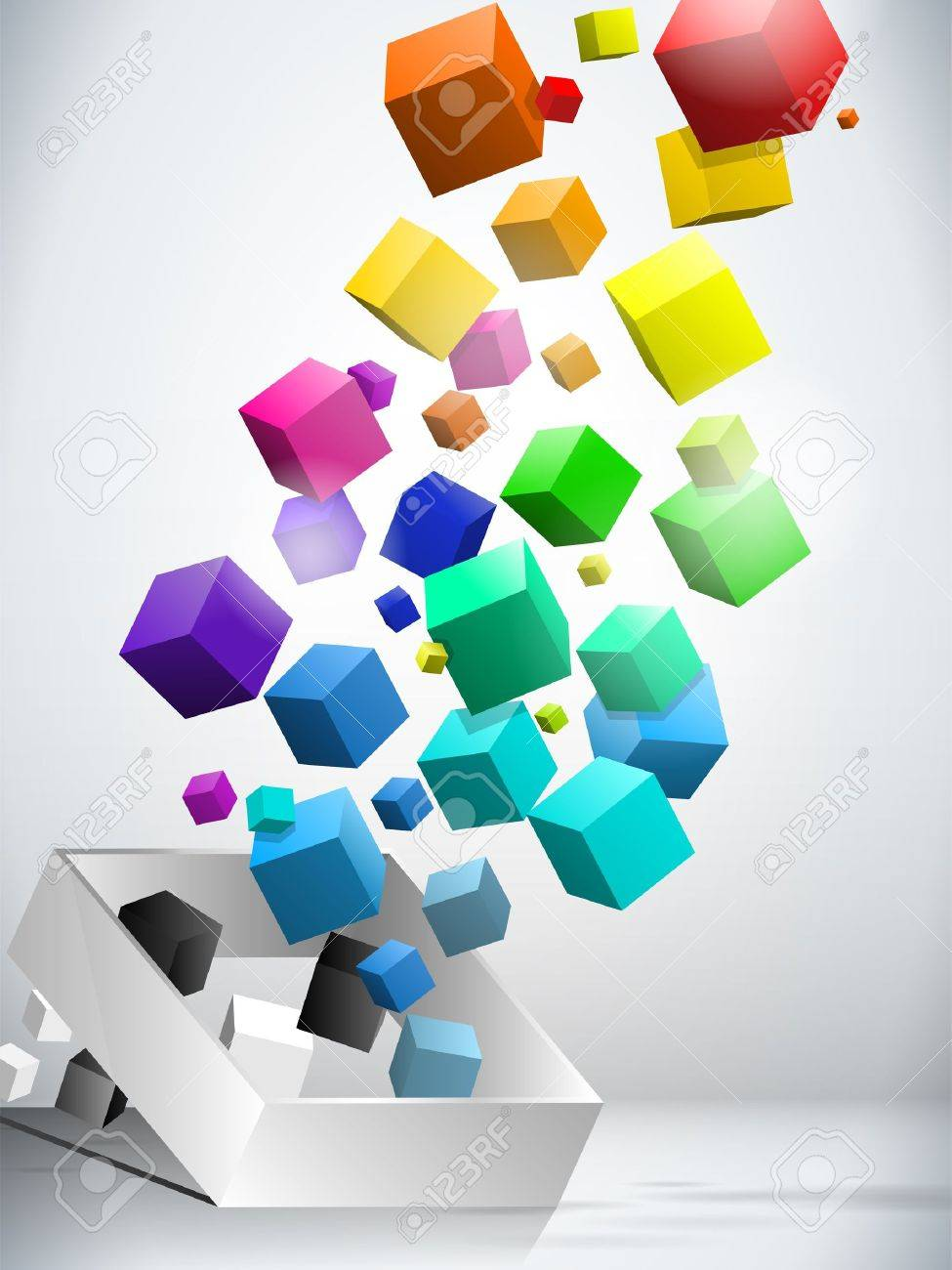 Colorful Flying Cubes Background Stock Vector - 11032088