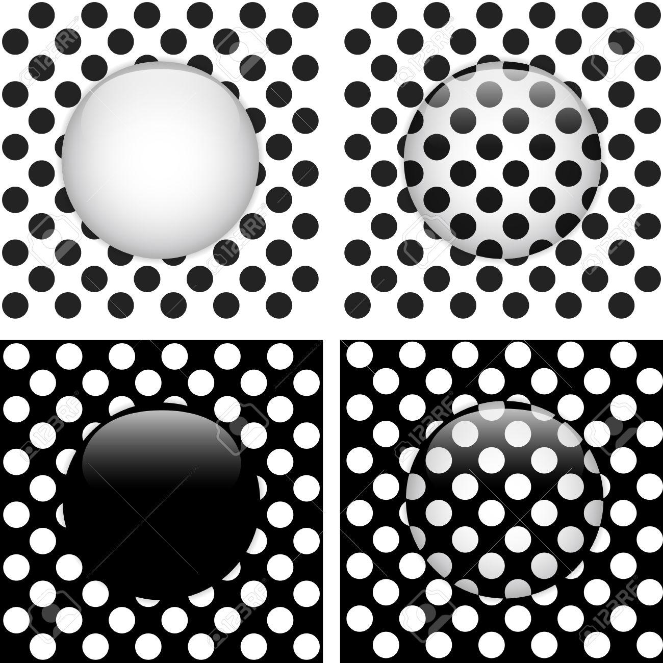 Vector - Set De Cuatro Puntos De Vidrio Círculo Blanco Y Negro ...