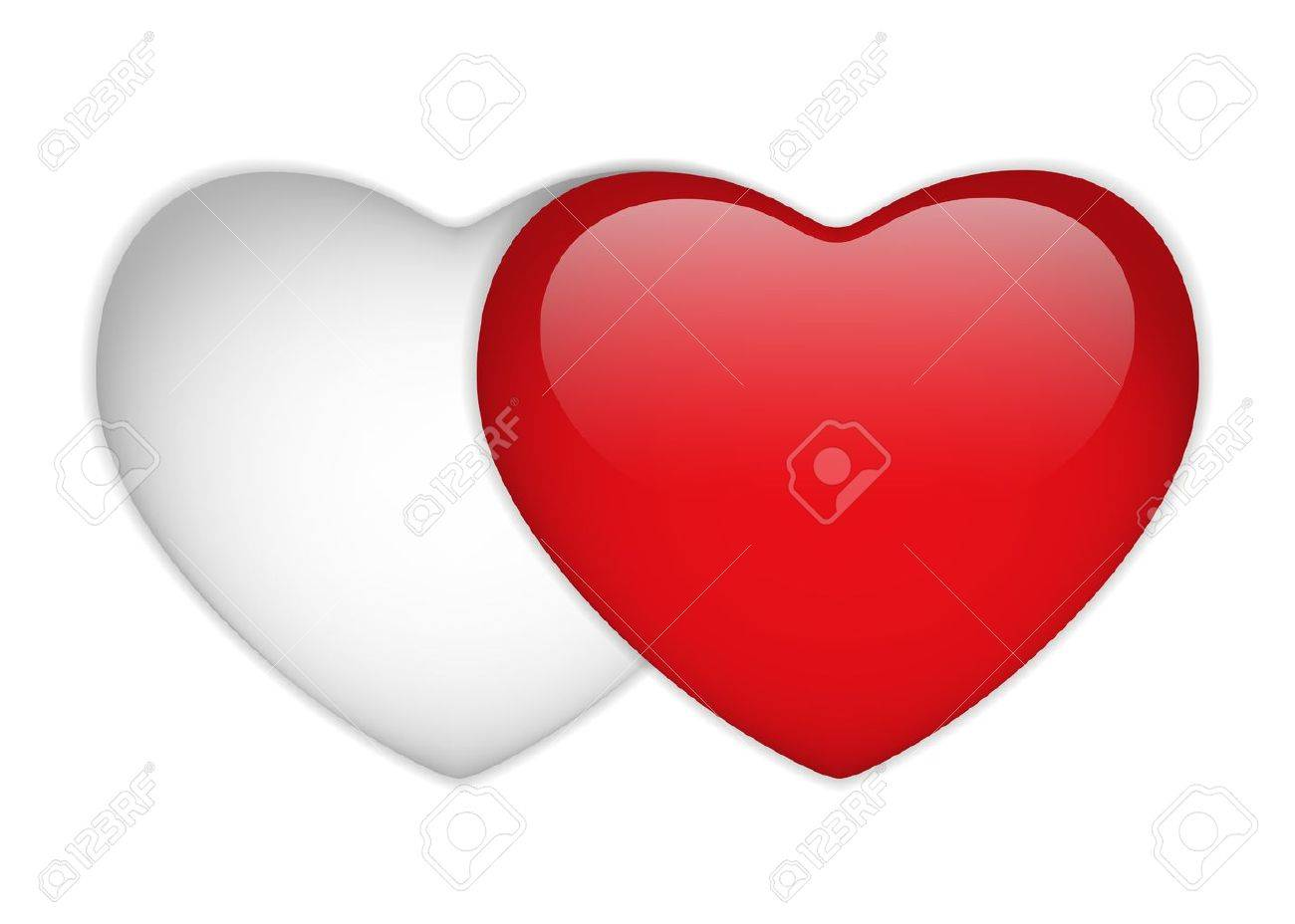 Vector - Glass Red and White Heart Stock Vector - 13383557