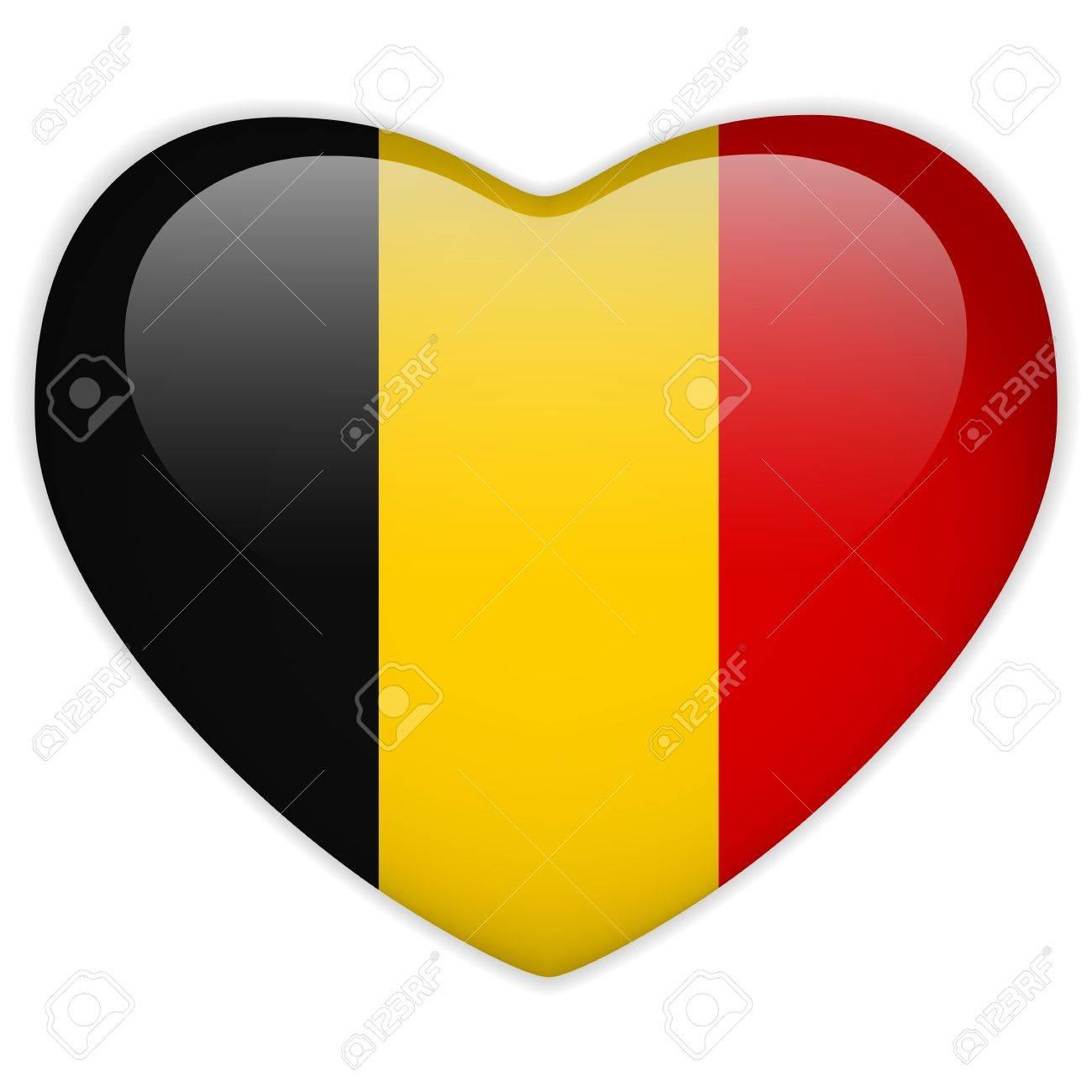 Vector - Belgium Flag Heart Glossy Button Stock Vector - 13546321