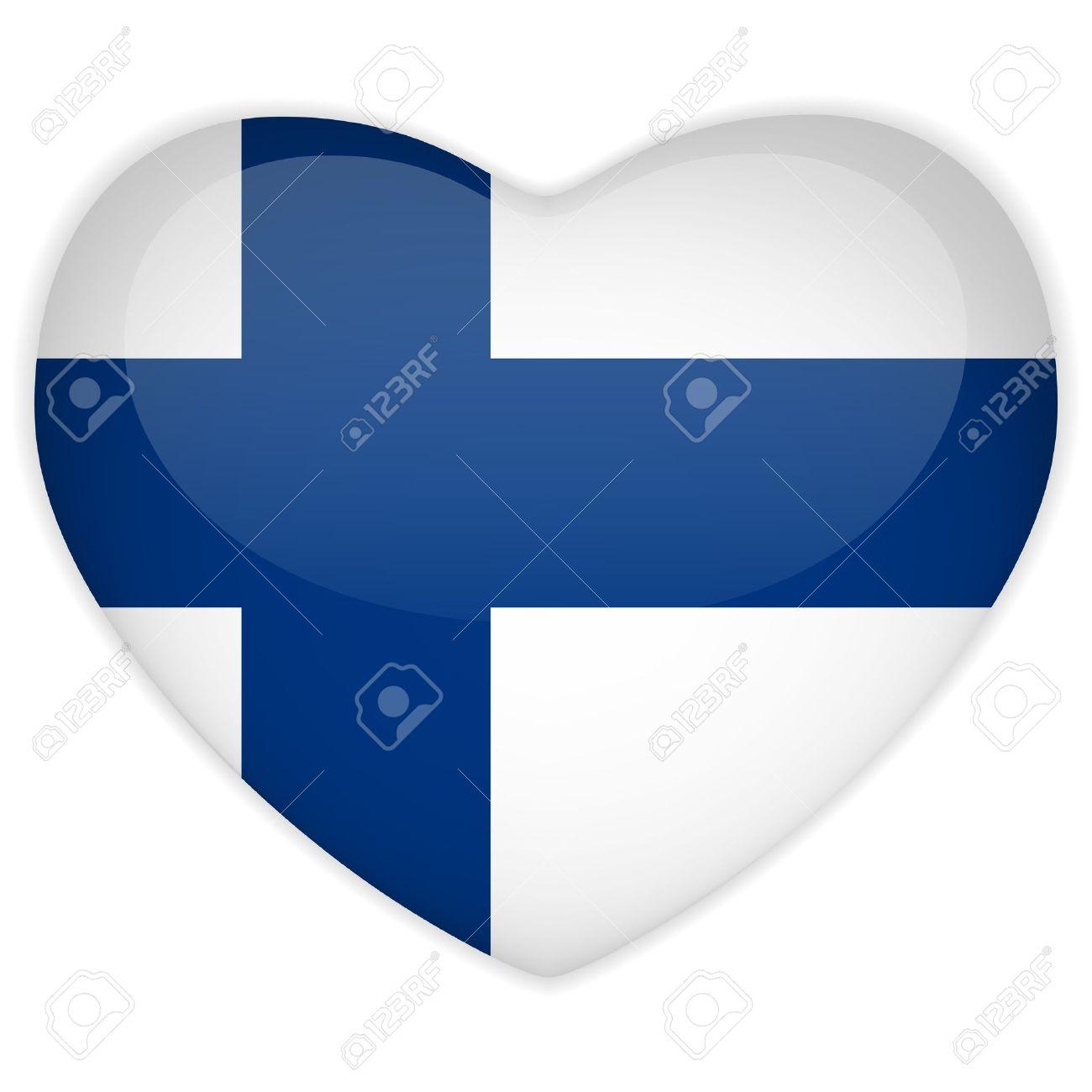 Vector - Finland Flag Heart Glossy Button Stock Vector - 13546404