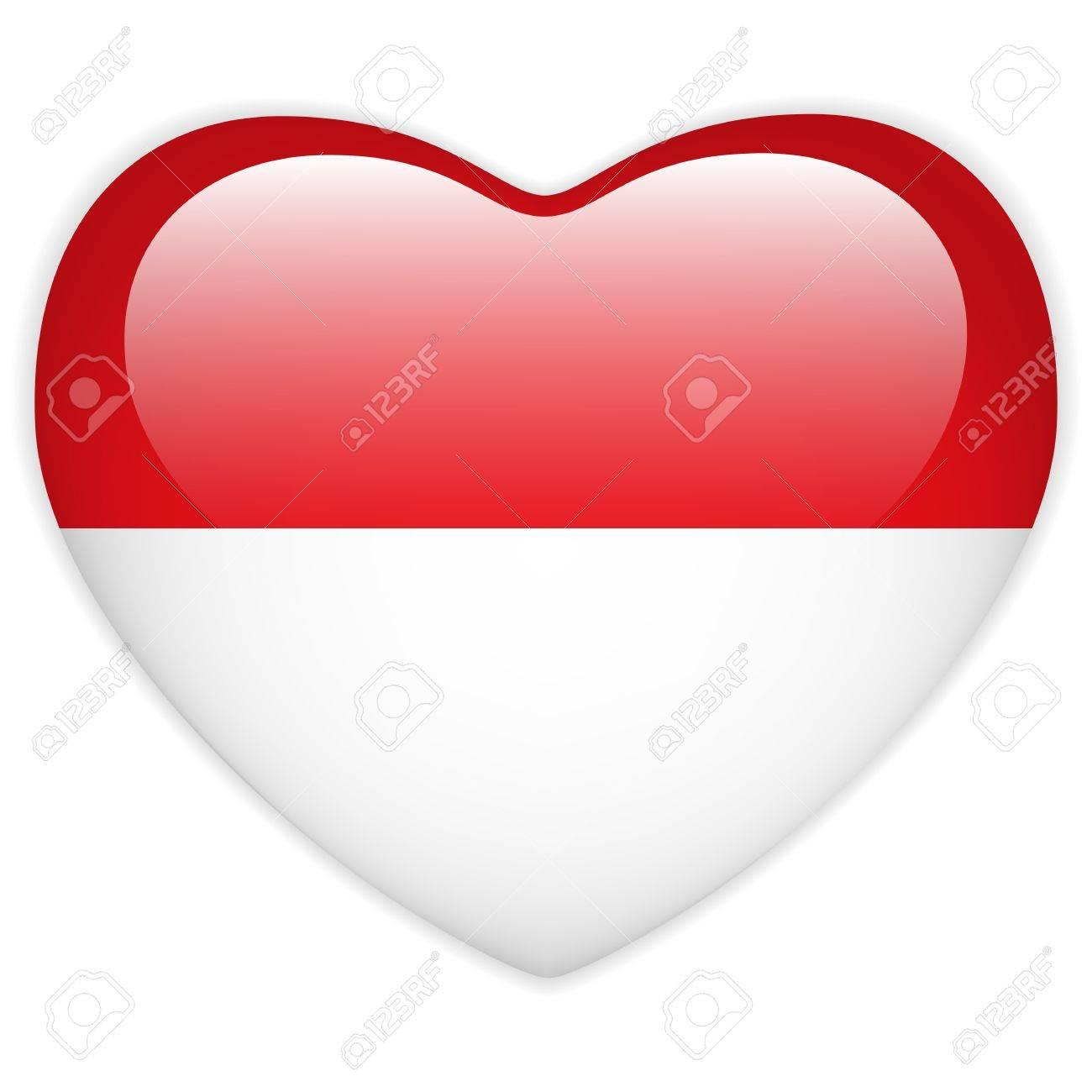 Vector - Monaco Flag Heart Glossy Button Stock Vector - 13546325