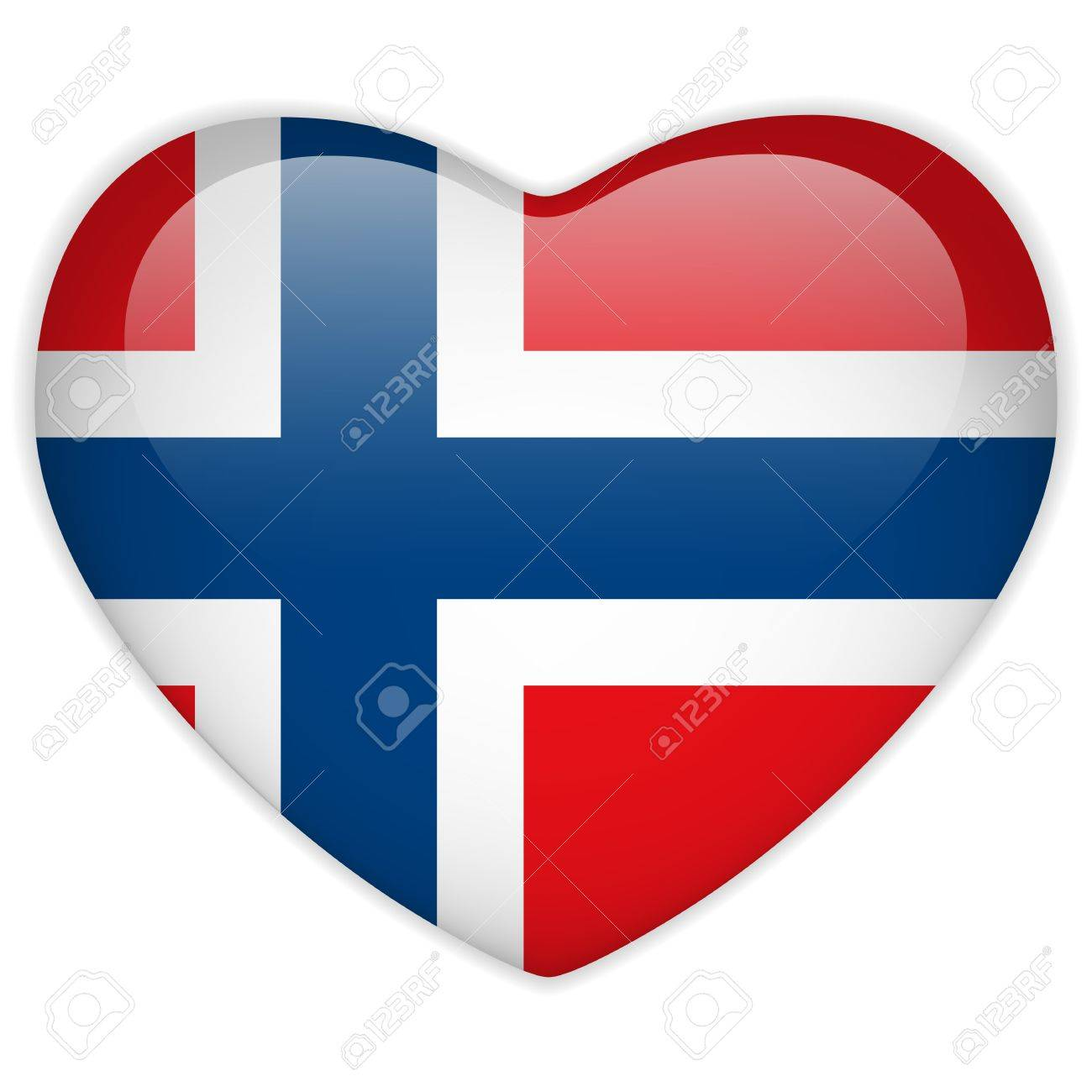 Vector - Norway Flag Heart Glossy Button Stock Vector - 13546400