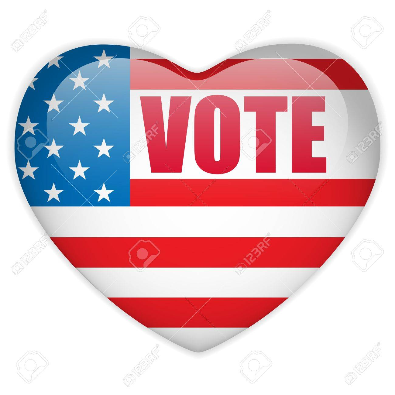 United States Election Vote Heart Button. Stock Vector - 14647990