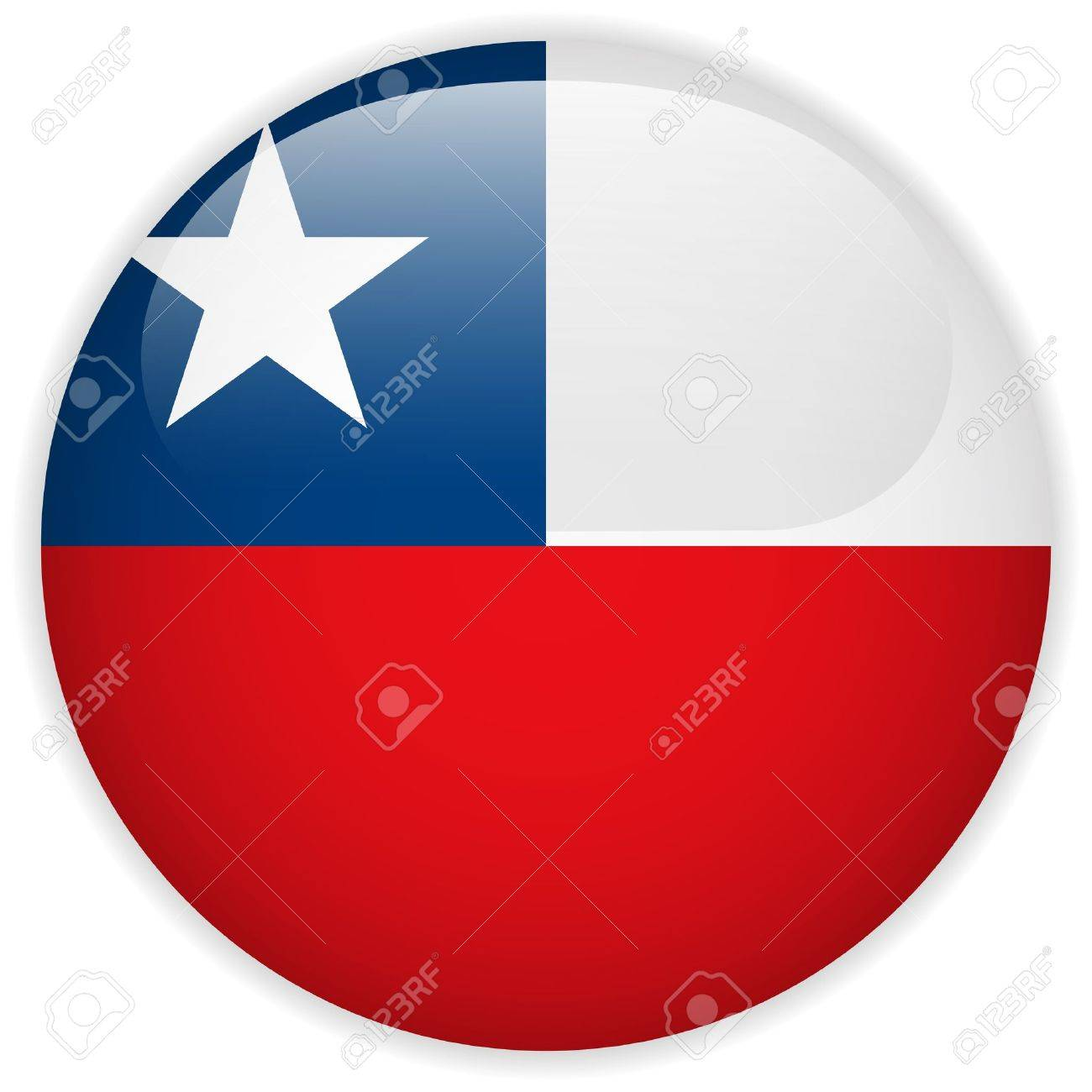 Vector - Chile Flag Glossy Button Stock Vector - 15064648