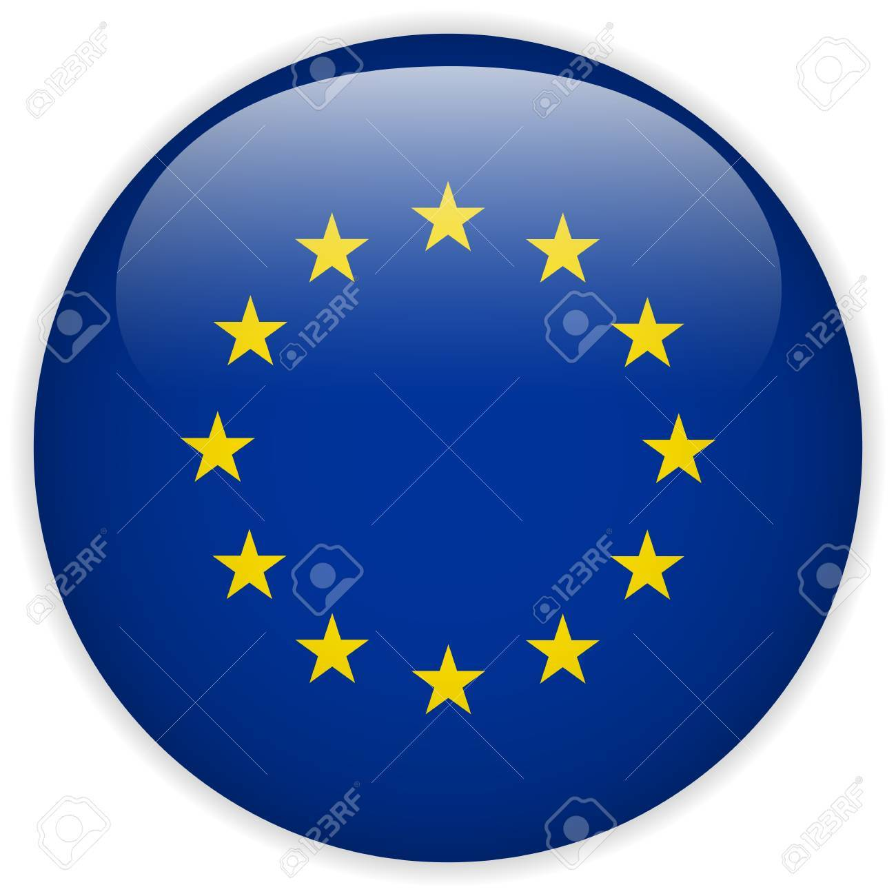 Vector - Europe Flag Glossy Button Stock Vector - 15064632