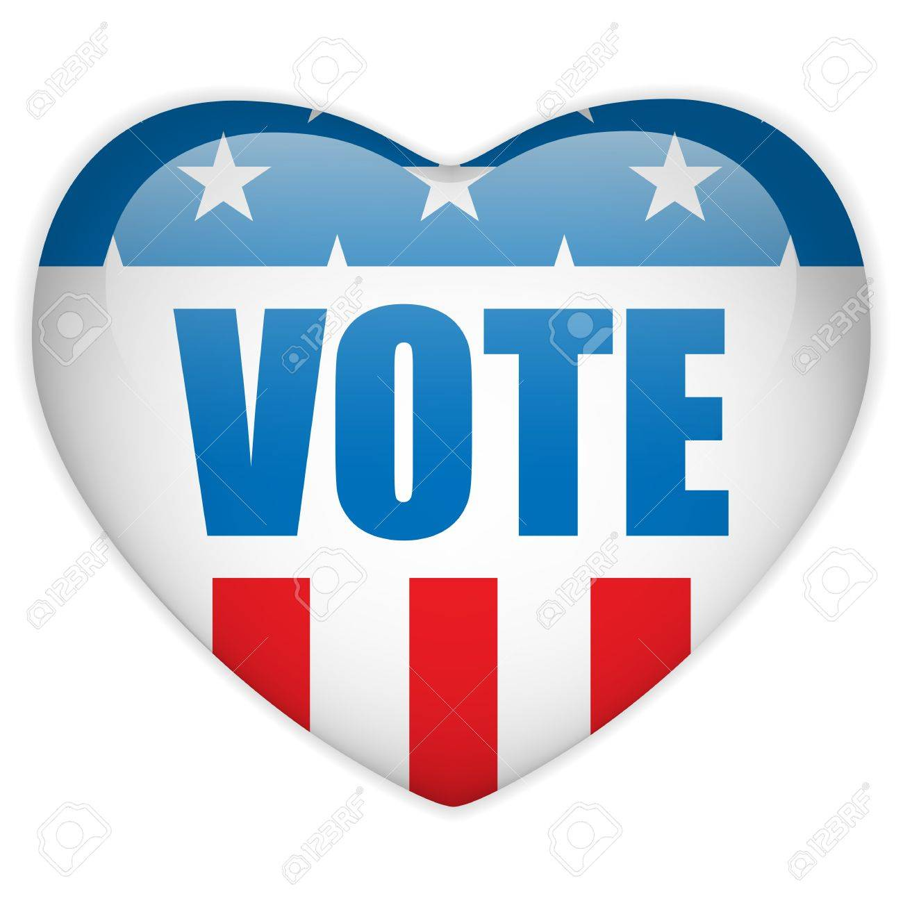 Vector - United States Election Vote Heart Button. Stock Vector - 15064557