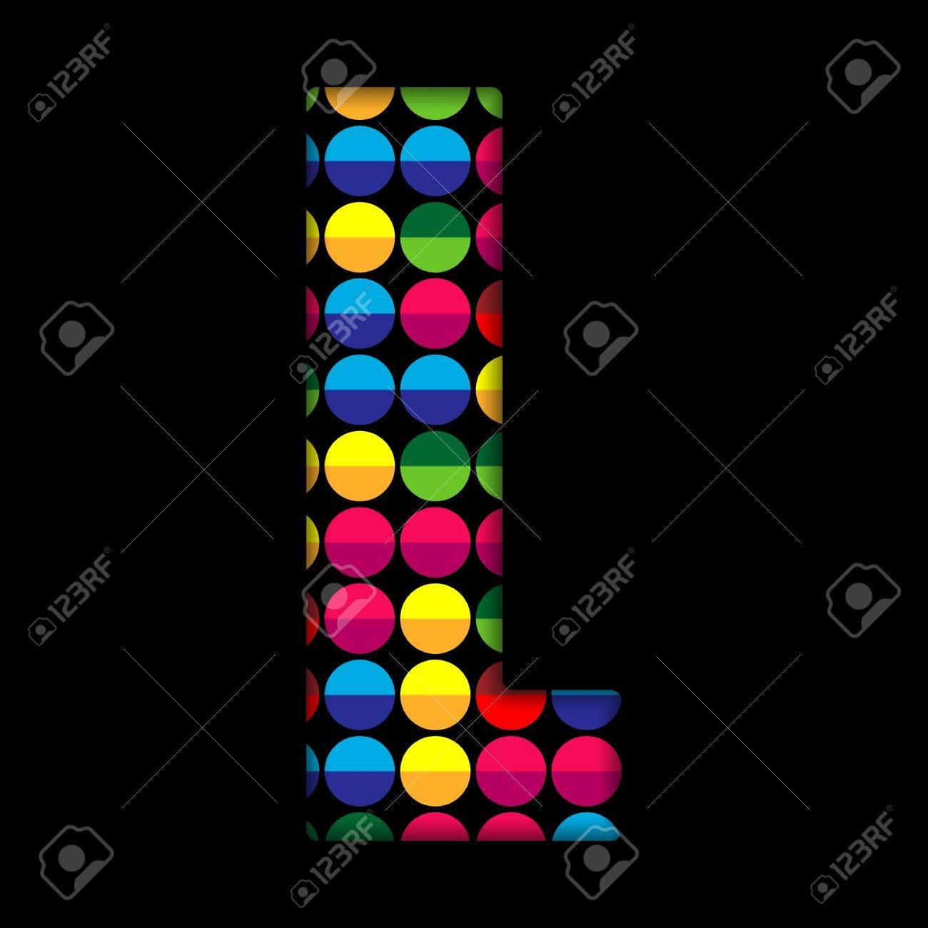 Alphabet Dots Color on Black Background L Stock Vector - 15809839