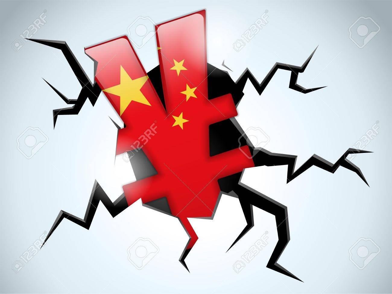 Vector - Yuan Yen Money Crisis China Flag Crack on the Floor Stock Vector - 16189049