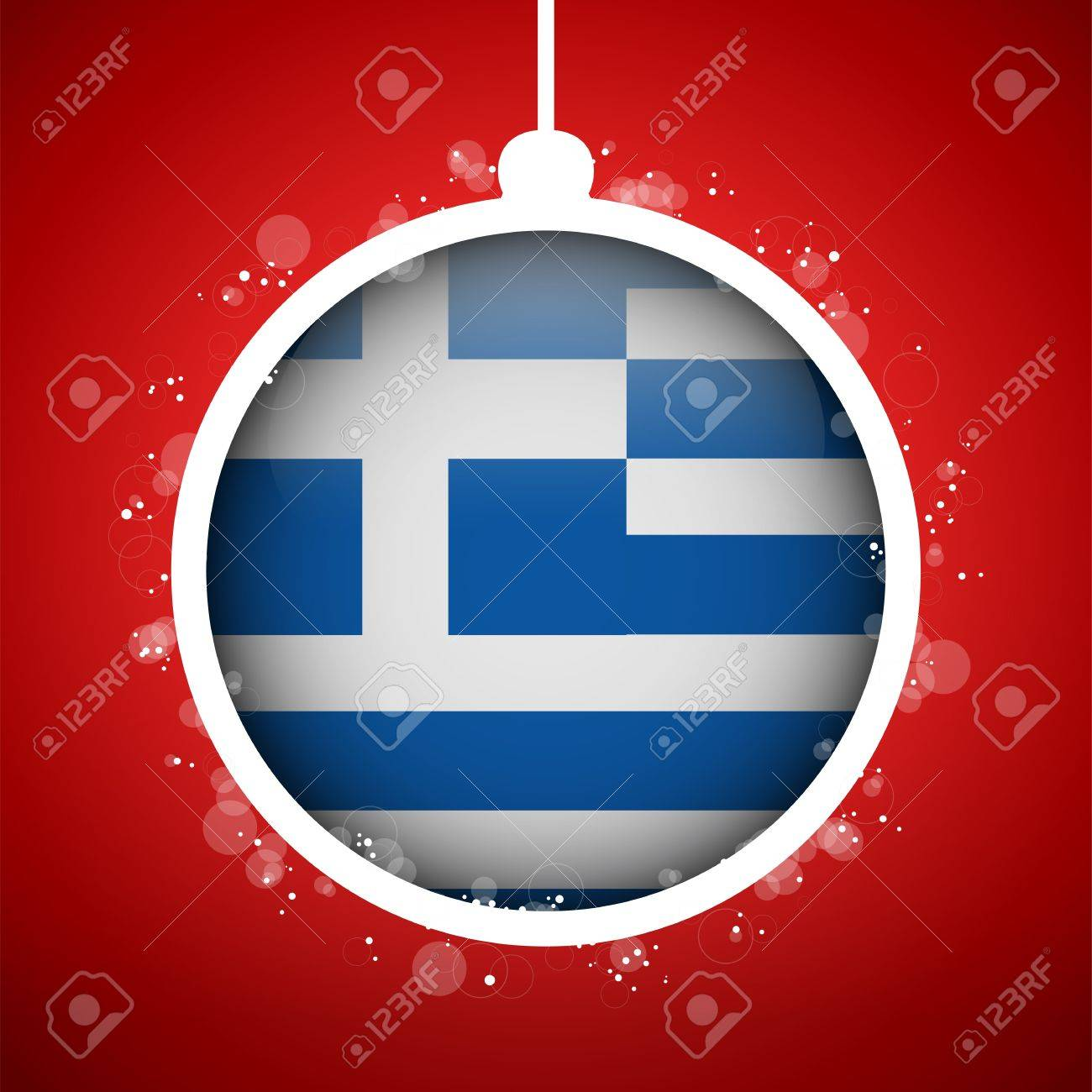 Vector - Merry Christmas Red Ball With Flag Greece Royalty Free ...