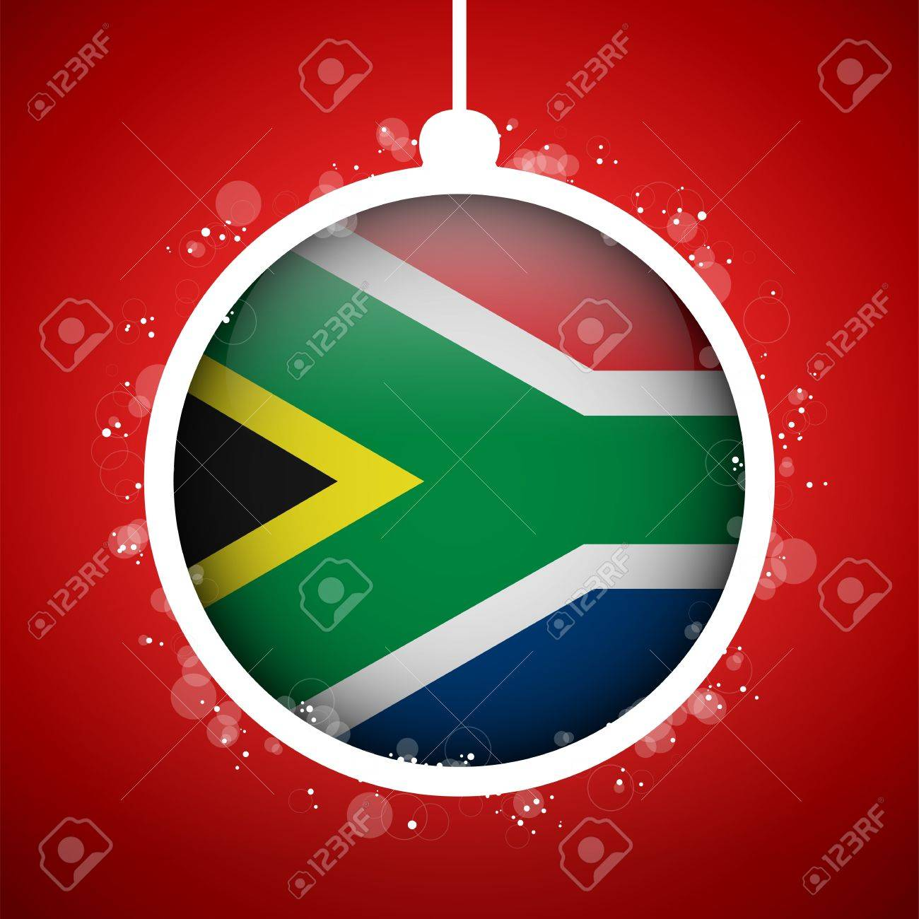 Vector - Merry Christmas Red Ball With Flag South Africa Royalty ...