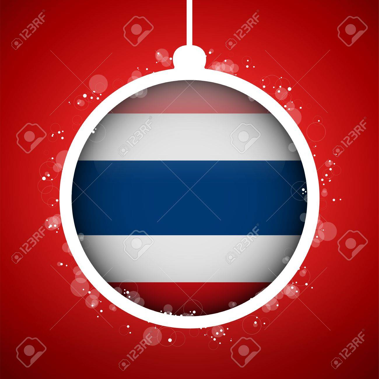 Vector - Merry Christmas Red Ball With Flag Thailand Royalty Free ...