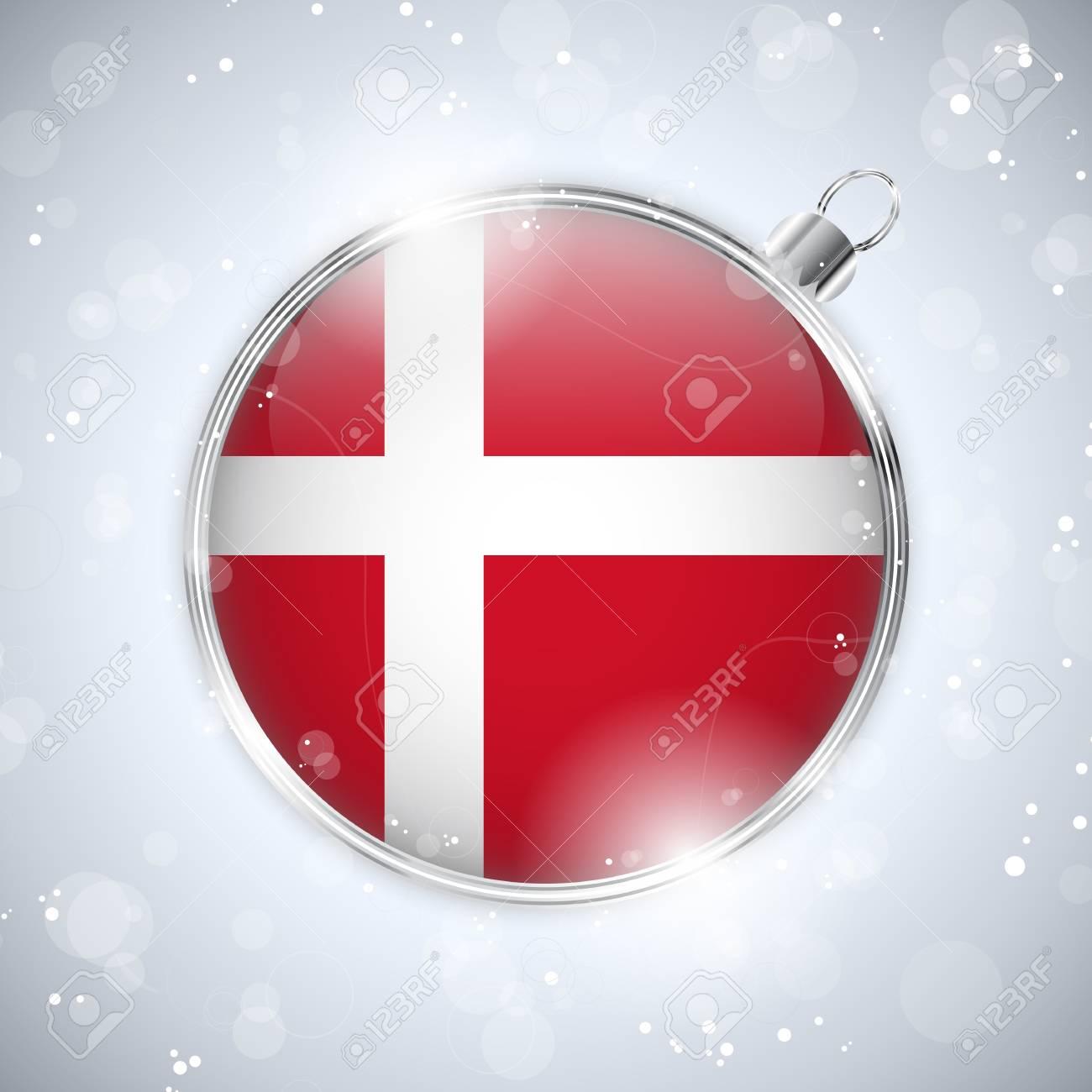 Merry Christmas Silver Ball with Flag Denmark Stock Vector - 16659690