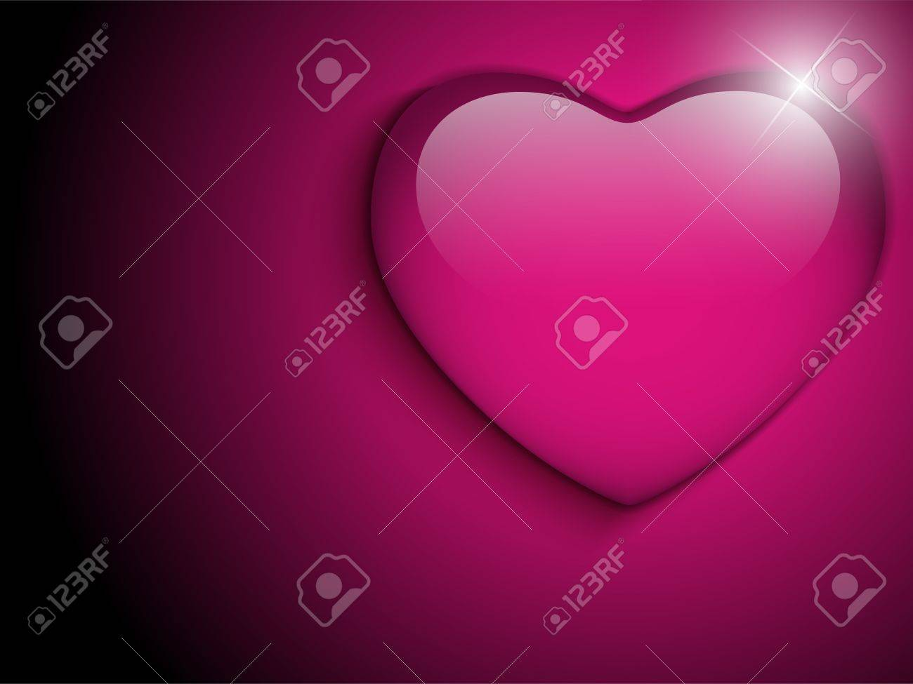 Vector - Glass Pink Glossy Heart Stock Vector - 17302921