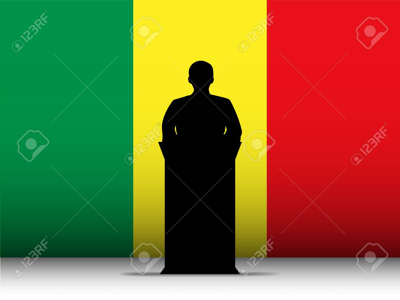 Vector - Mali  Speech Tribune Silhouette with Flag Background Stock Vector - 17302875