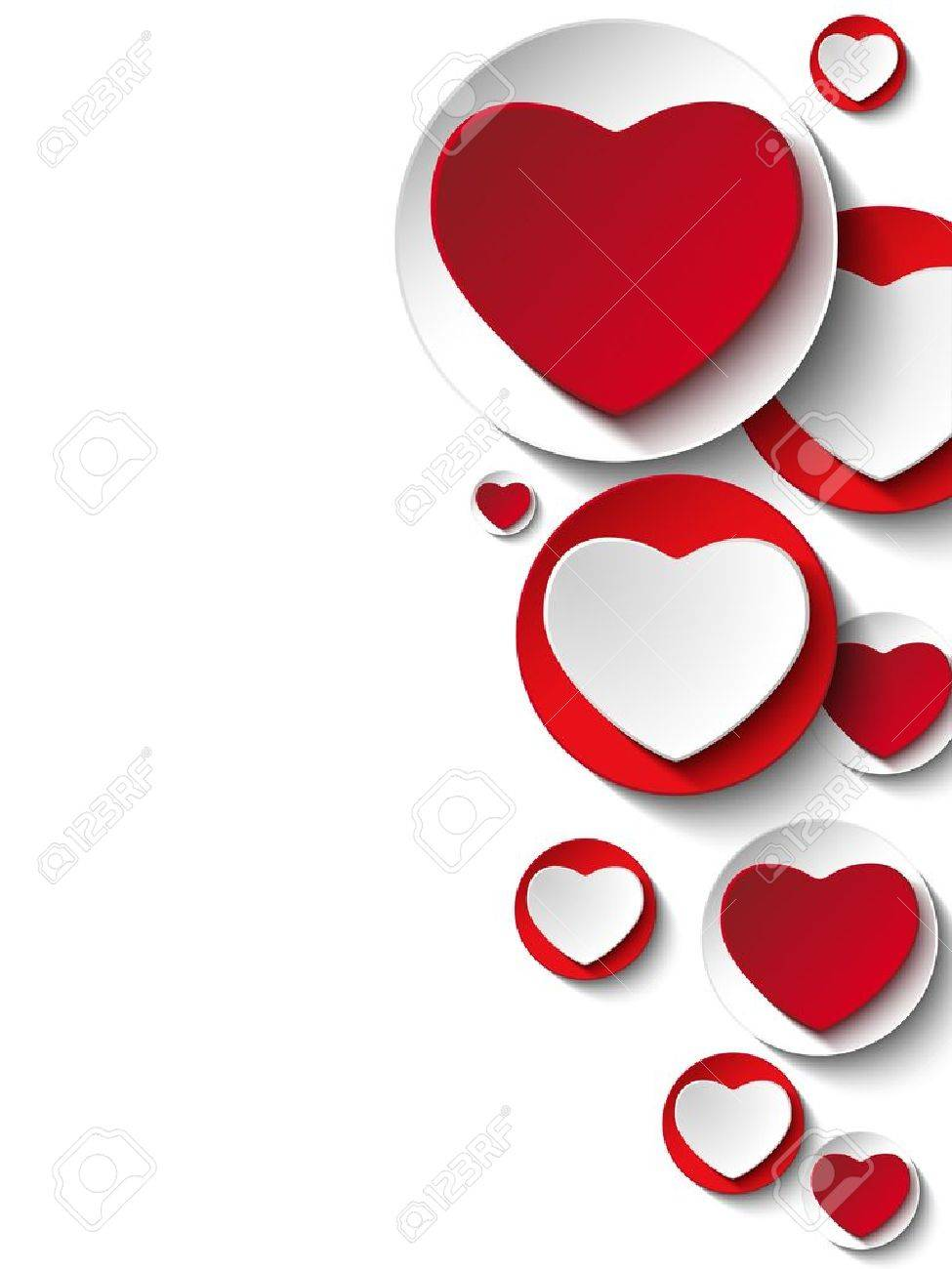 Valentine Day Heart on White Button Stock Vector - 17492436