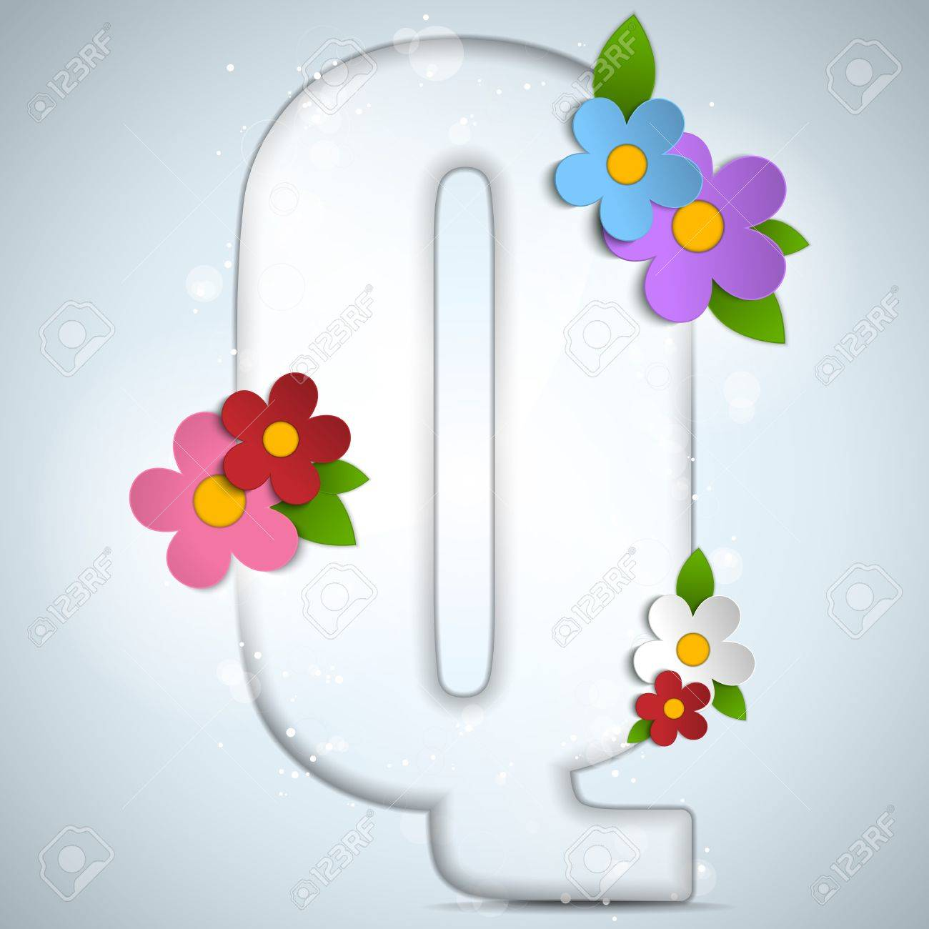 Vector - Alphabet Glass Spring with Flowers Stock Vector - 18601835