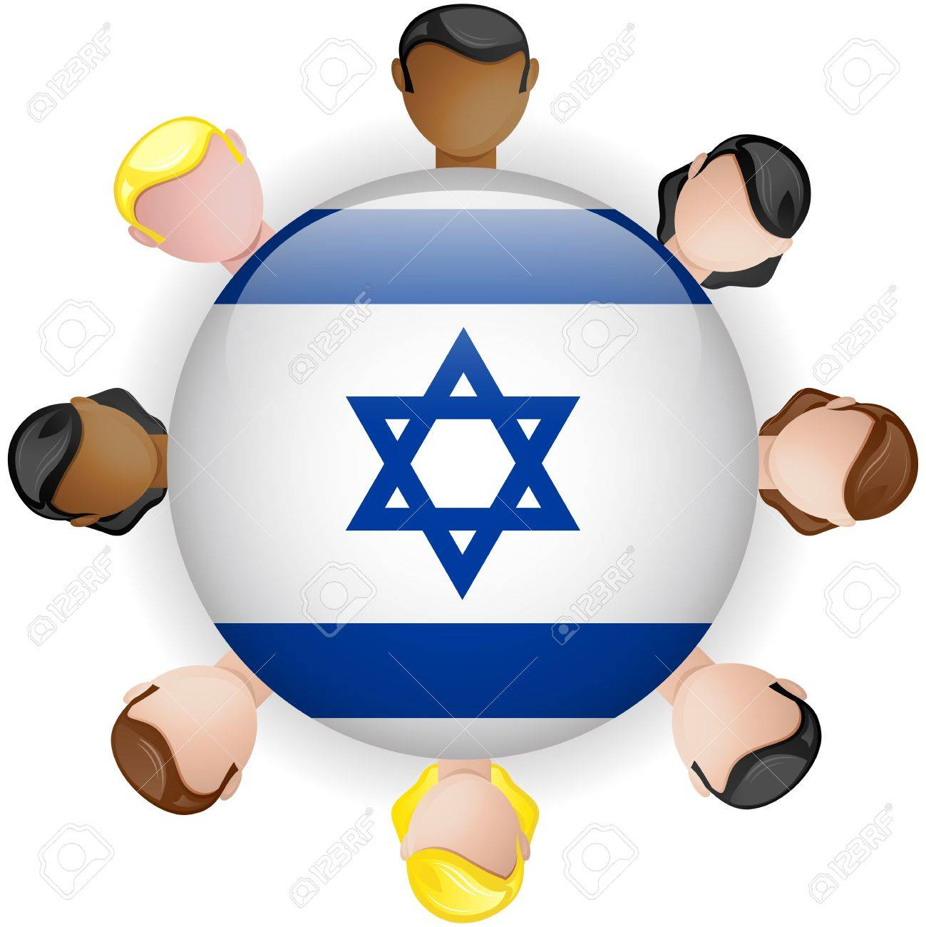 Israel Flag Button Teamwork People Group - Vector Stock Vector - 20008047