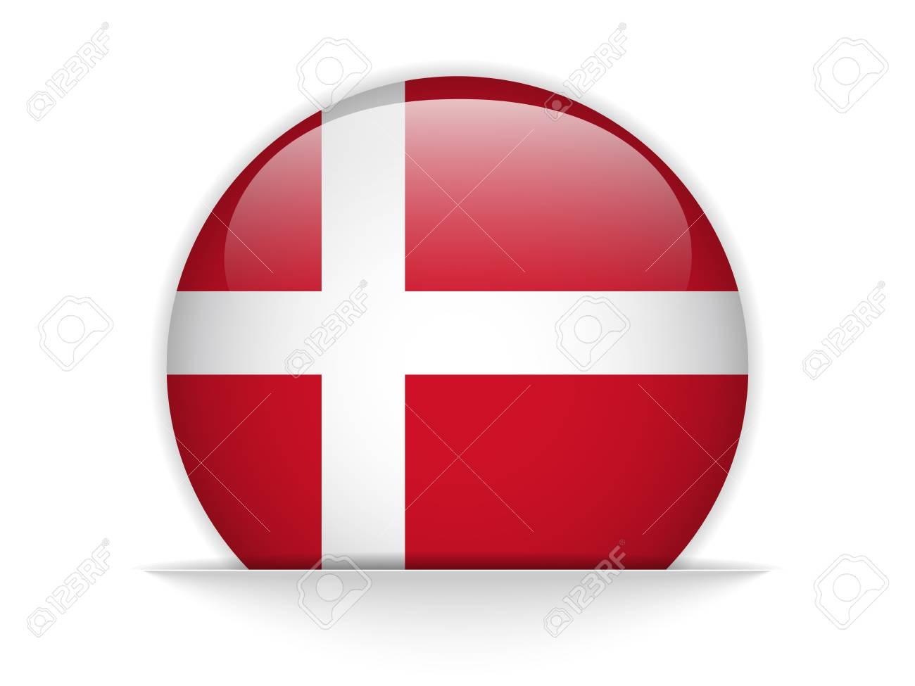 Vector - Denmark Flag Glossy Button Stock Vector - 20225052