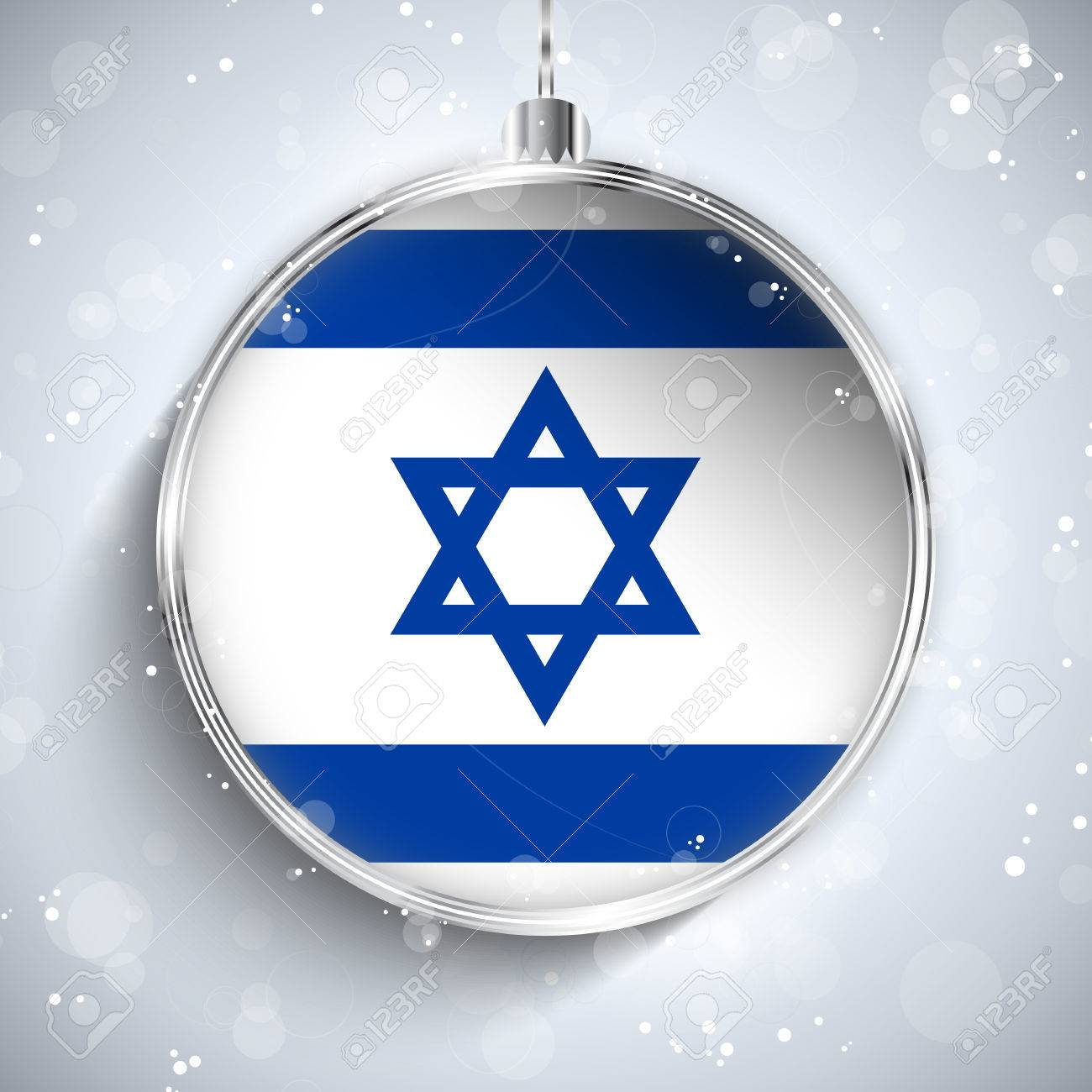 Vector - Merry Christmas Silver Ball with Flag Israel Stock Vector - 22822587