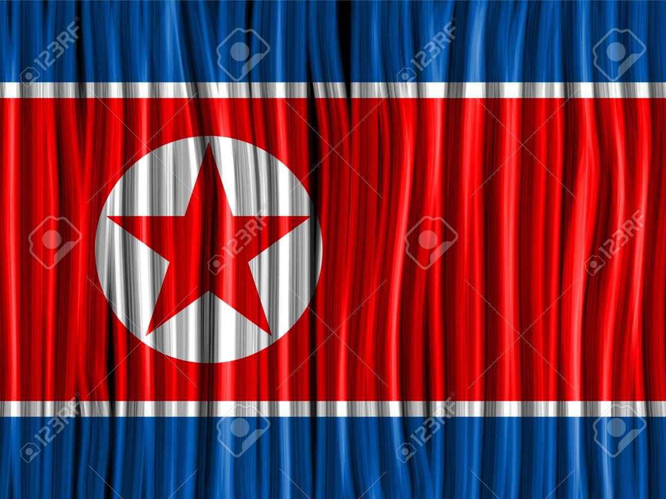 Vector - North Korea Flag Wave Fabric Texture Background Stock Vector - 23356868