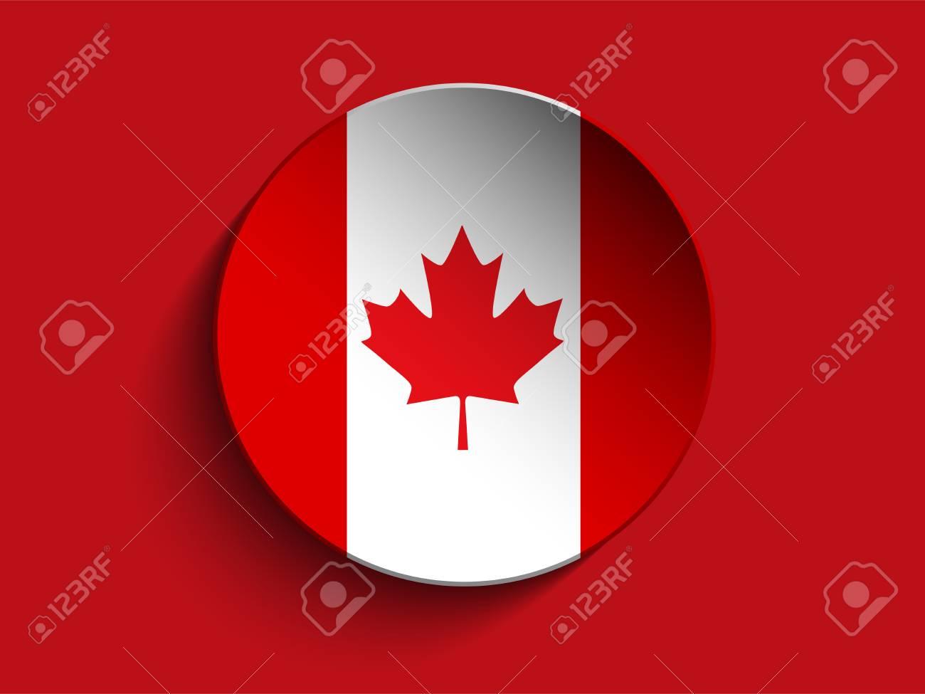 Vector - Círculo De La Bandera De Papel Shadow Button Canadá ...