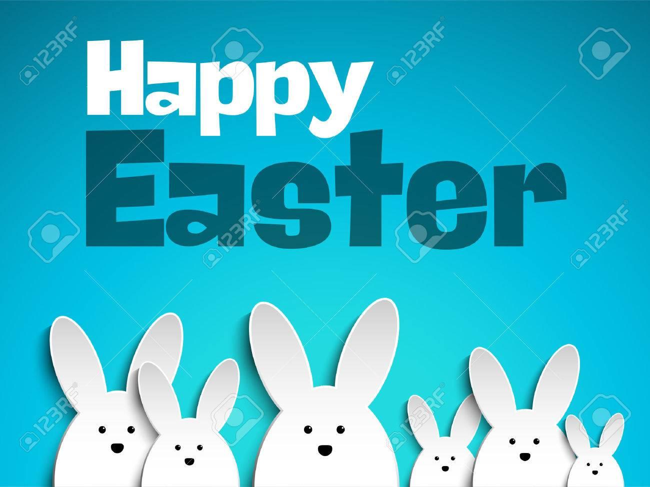Happy Bunny Rabbit Pâques sur fond bleu Banque d'images - 37405364