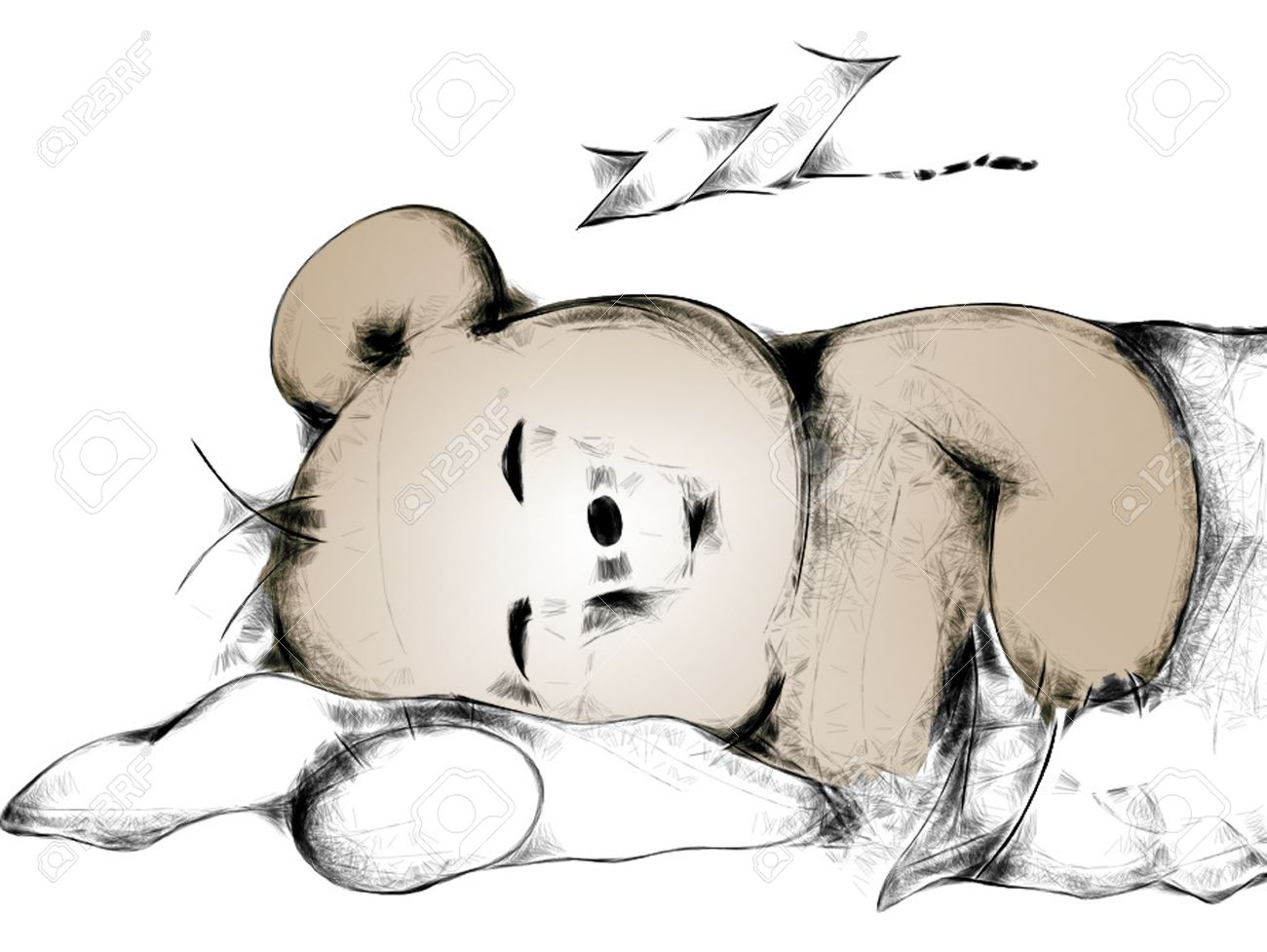 sleeping cartoon teddy bear stock photo picture and royalty free