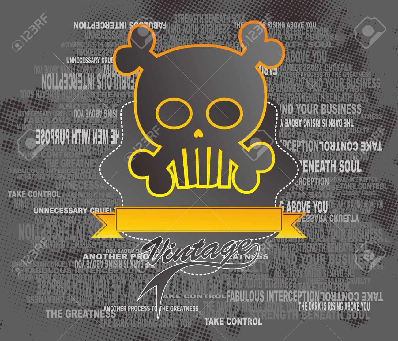 skull full art ribbon Stock Vector - 16855847
