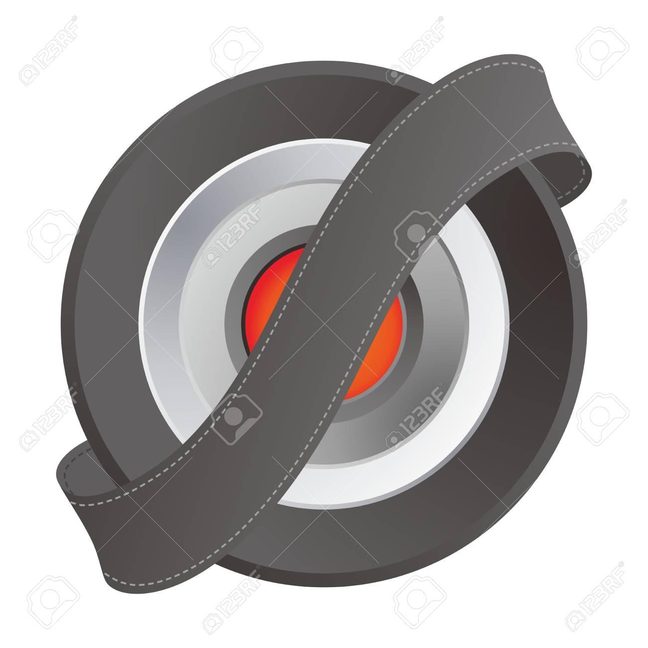 orange middle button ribbon Stock Vector - 17458496
