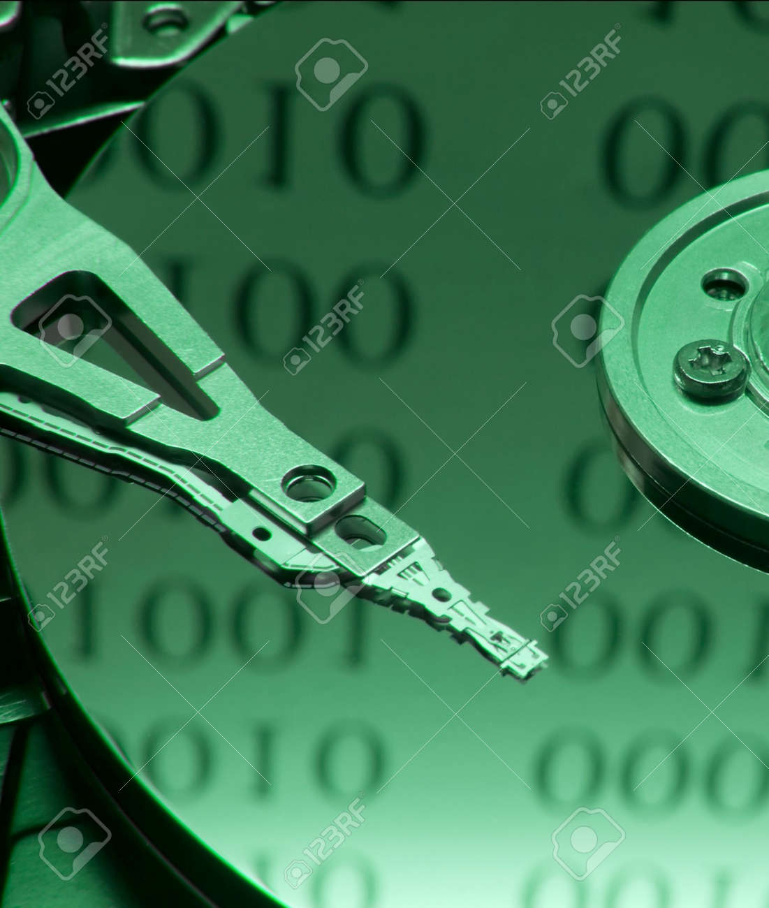 Internals of on open harddisk ith binary code reflection Stock Photo - 794715