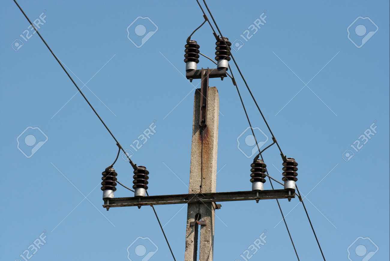 Top Of A Concrete Electric Pillar With Three Wires Stock Photo ...