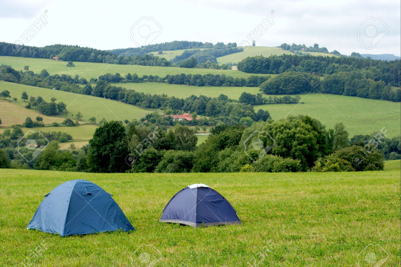 Two tents in the hills on the grass Stock Photo - 1884267 & Two Tents In The Hills On The Grass Stock Photo Picture And ...
