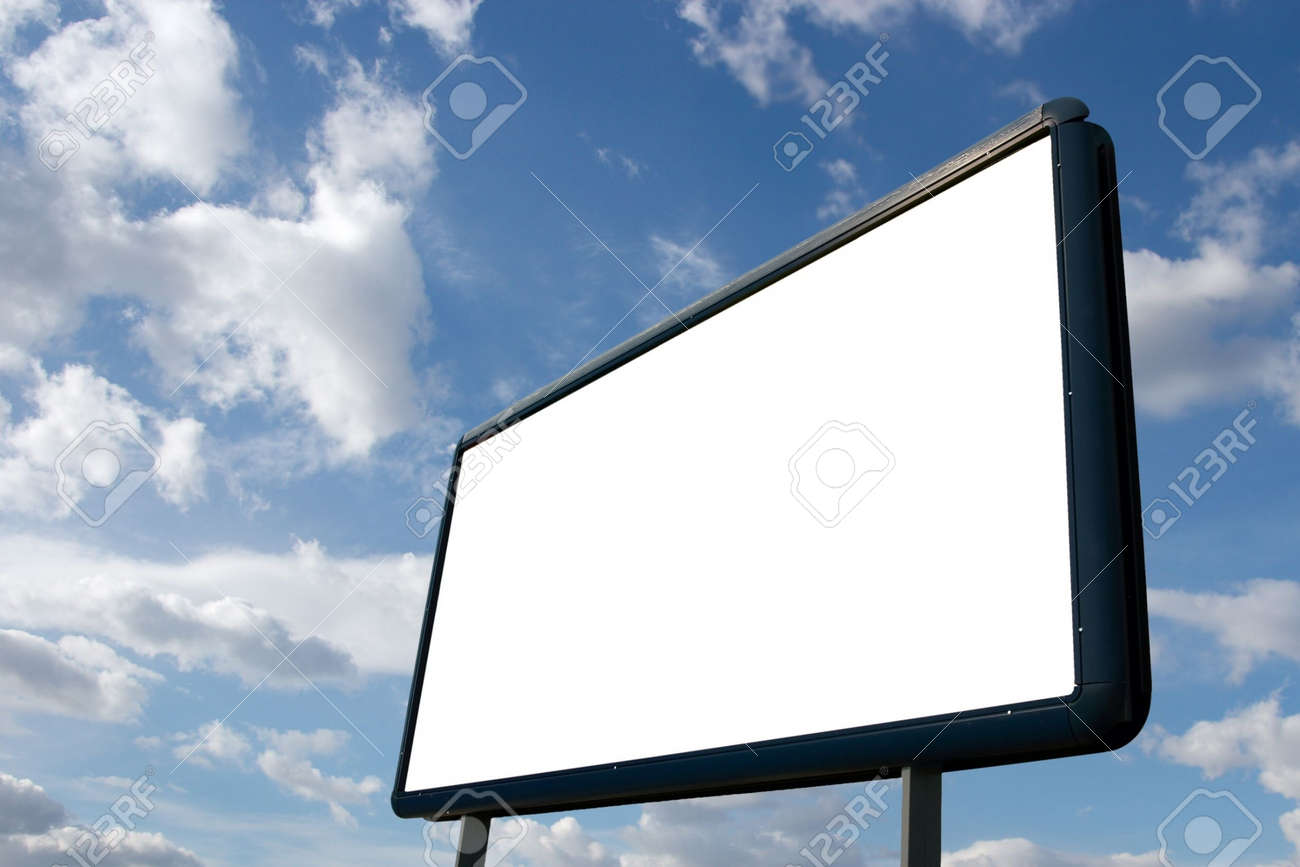 Blank advertisement board with cloudy blue sky Stock Photo - 3116404