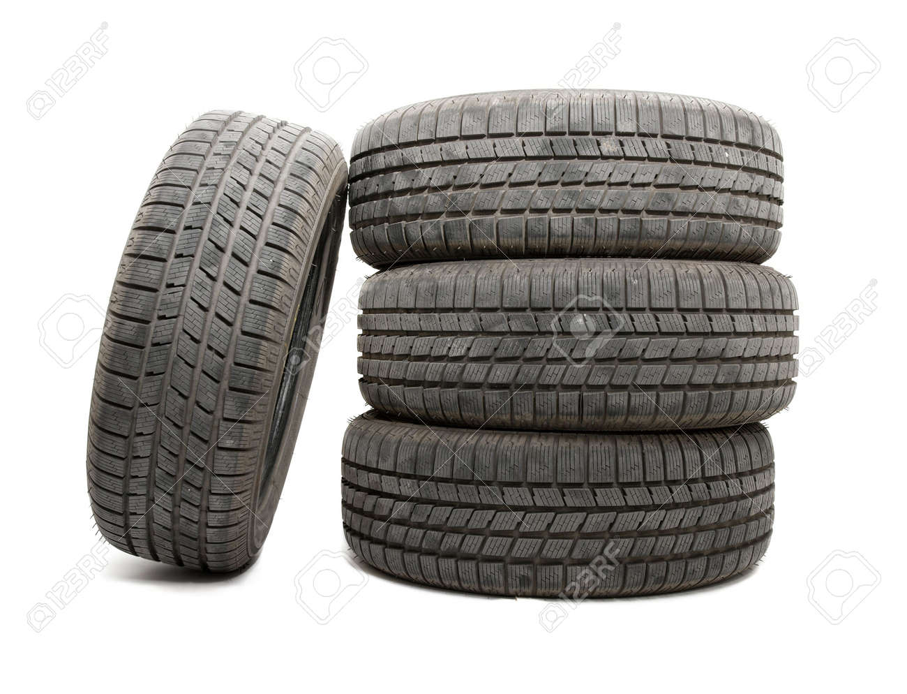 A set of tyres isolated on white background Stock Photo - 5568099