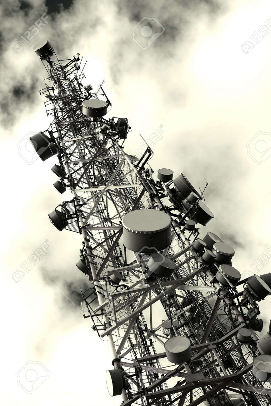 Transmitter tower against dramatic sky Stock Photo - 5703417