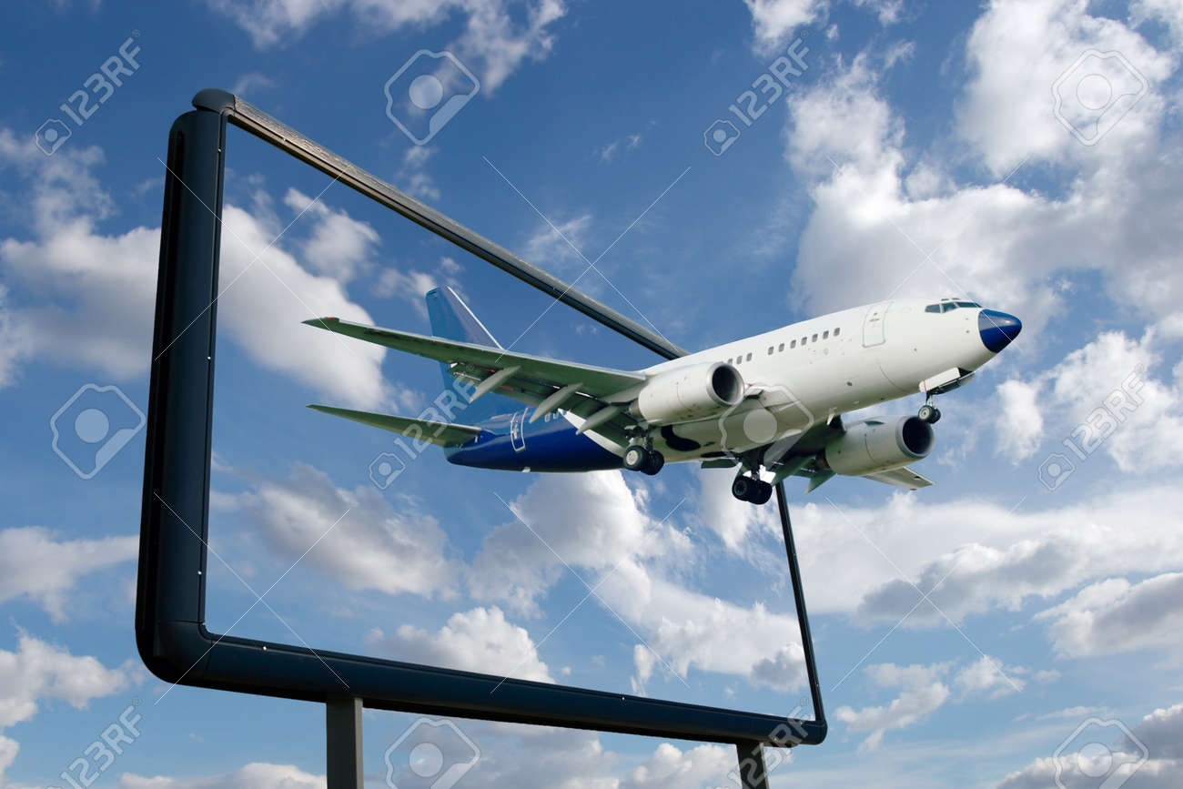 Airliner flying out of a billboard - 7838473