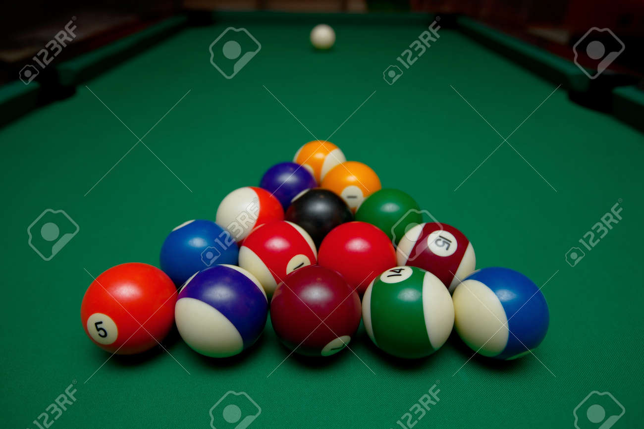 Attractive Pool Table Set Up For Beginning Stock Photo   10549655
