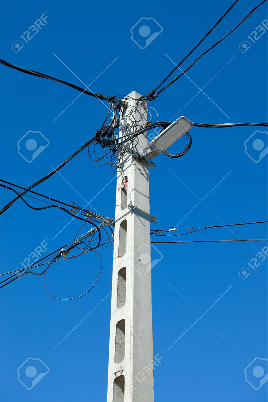 Many cables of electric lines Stock Photo - 12891185