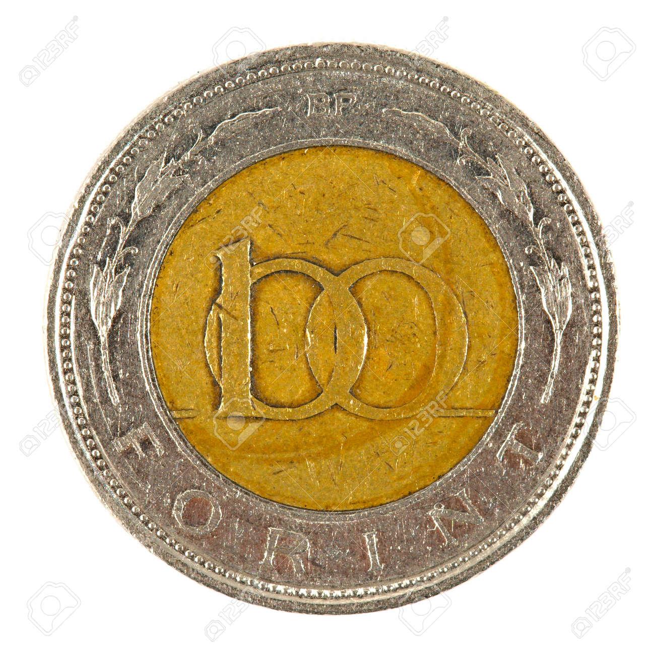 100 Ungarische Forint Münze Auf Weißem Hintergrund Lizenzfreie Fotos