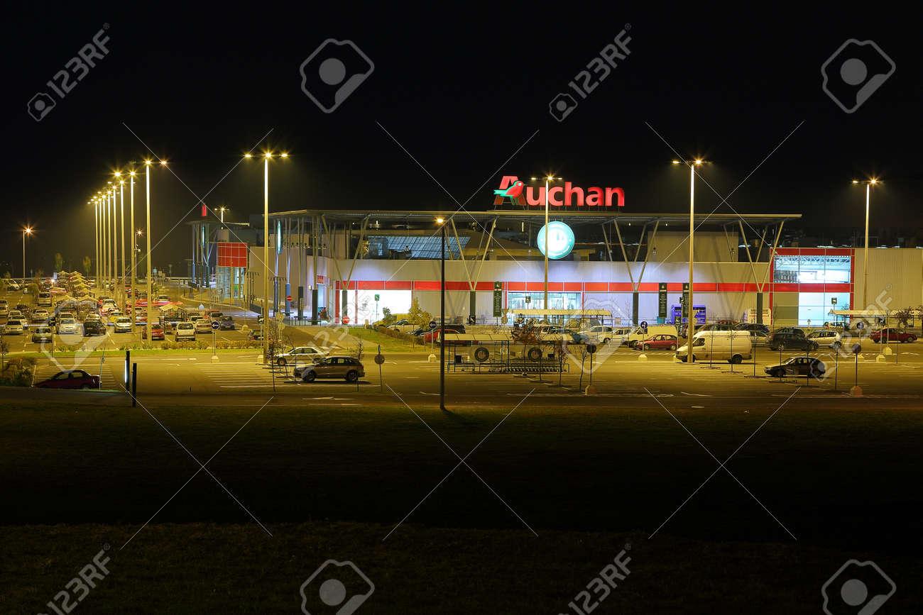 Budapest, HUNGARY - November 28: View of an Auchan supermarket,