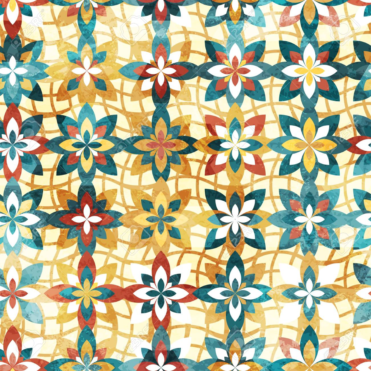 abstract color flowers seamless pattern Stock Vector - 17621445