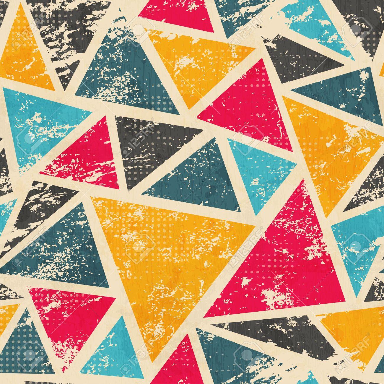 grunge colored triangle seamless pattern - 21505087